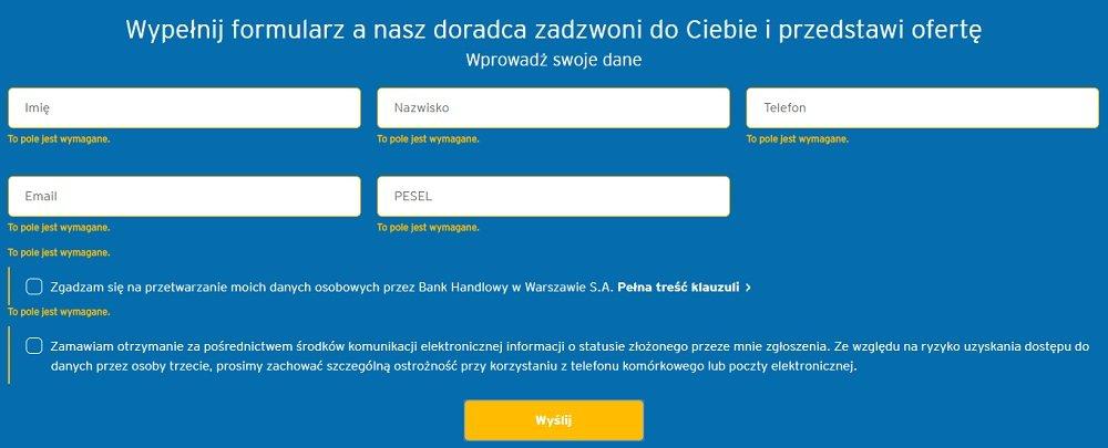 formularz citi bank